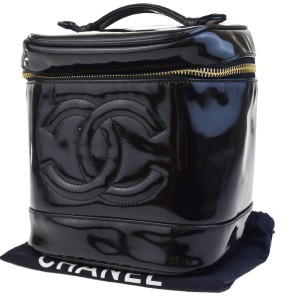 Chanel CHANEL CC Logos Vanity Hand Bag Patent Leather Black France