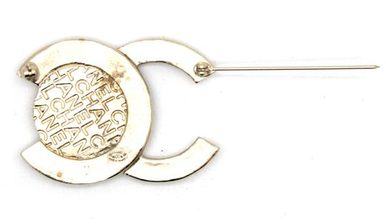 Chanel RARE CC large coin textured gold hardware runway brooch pin charm