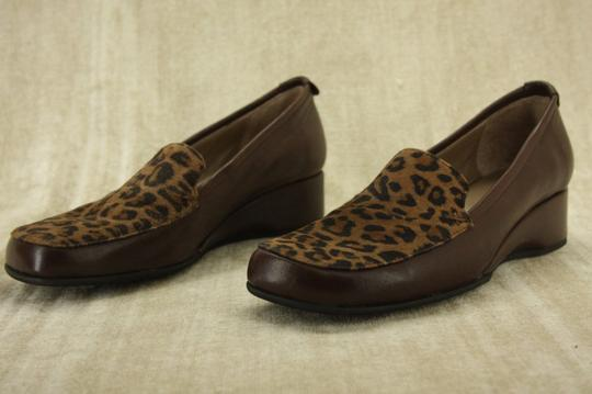 Anyi Lu Italian Work Penny Party Brown Leopard Wedges