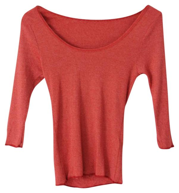 Michael Stars Scoop Neck 3/4 Sleeve Stretchy T Shirt Red