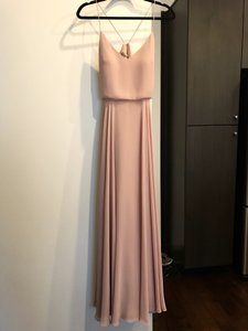 Jenny Yoo Whipped Apricot Chiffon Inesse V-neck Spaghetti Strap Gown Formal Bridesmaid/Mob Dress Size 6 (S)