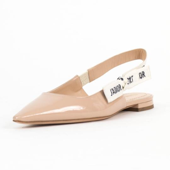 Dior Slingback Pointed Toe Patent Leather Nude Flats