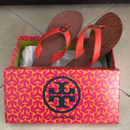 Tory Burch Gold and Burnt Orange Sandals