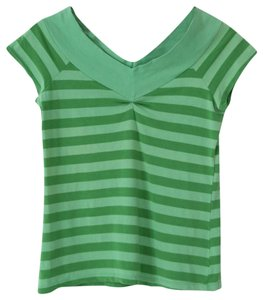Ella Moss Cap Sleeve V-neck Striped Cotton T Shirt Green