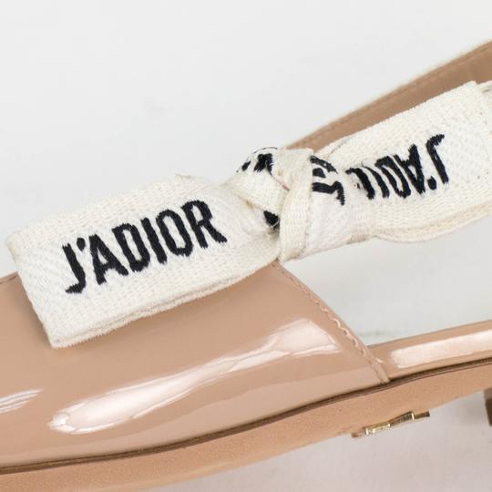 Dior Slingback Patent Leather Pointed Toe Nude Flats