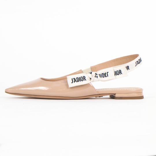 Dior Patent Leather Pointed Toe Slingbacks Nude Flats