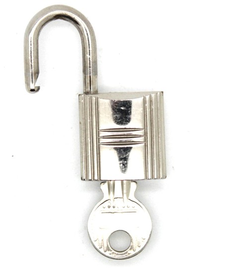 Hermès polished Silver palladium Lock Key #100 Birkin Kelly bag bolide