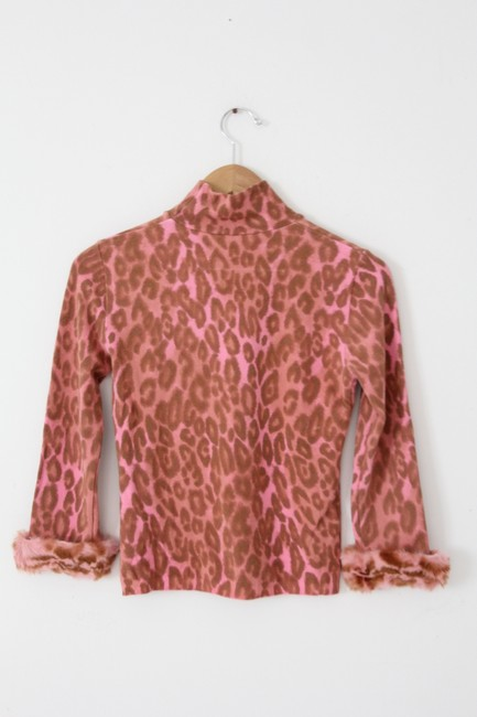 Blugirl Leopard Animal Print Faux Fur Top Pink