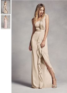 White by Vera Wang Vw Champagne Chiffon Long One-shoulder with Ruffles Vw360274 Formal Bridesmaid/Mob Dress Size 2 (XS)