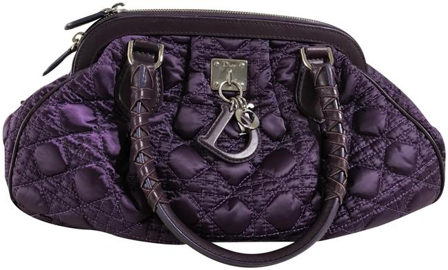 Item - Christian Cannage and Leather Purple Satin Satchel