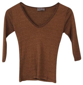Michael Stars 3/4 Sleeve V-neck Stretchy T Shirt Brown