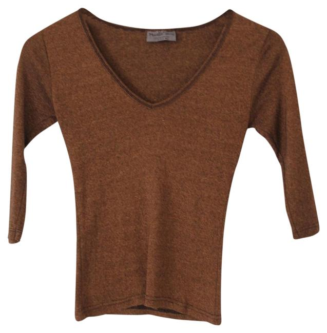 Preload https://item2.tradesy.com/images/michael-stars-brown-v-neck-34-sleeve-tee-shirt-size-os-one-size-23337951-0-3.jpg?width=400&height=650