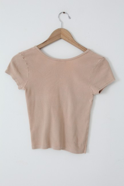 Michael Stars V-neck Cap Sleeve Cotton Crop T Shirt Beige