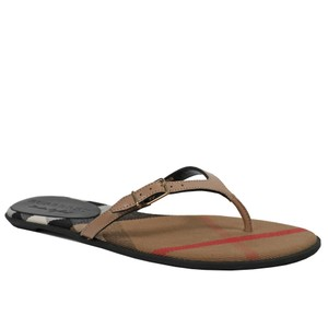 69b3e5693 Burberry House Check Leather Flip Flops Honey Sandals