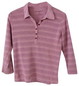 Eddie Bauer Striped Cotton Henley Polo 3/4 Sleeve T Shirt purple