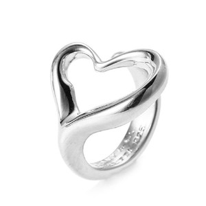 Tiffany & Co. 925 Silver Elsa Peretti(R) Open Heart Ring Size 5