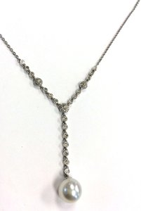 18 Karat White Gold Pearl & Diamond Necklace