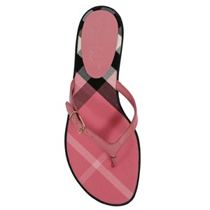 Burberry House Check Leather Flip Flops Berry Pink Sandals