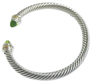 "David Yurman BRAND NEW!! NEVER WORN!! David Yurman Peridot 14 Karat Yellow Gold and Sterling Silver Cable Bracelet NWOT Fits up to 7.25"" 5mm Medium 100% Authentic Guaranteed!!! Comes with David Yurman Pouch!!"
