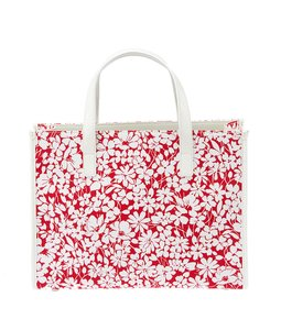 Burberry Floral Canvas Patent Leather Tote in Red & White