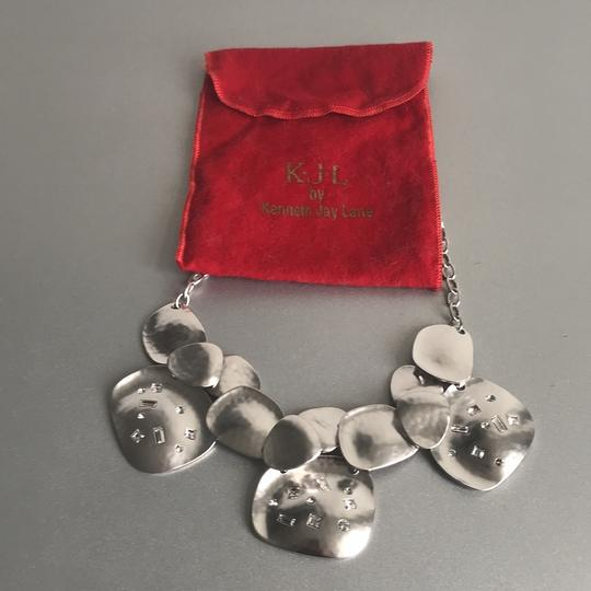 Kenneth Jay Lane Silver Tone with Crystals Bib Necklace Image 2