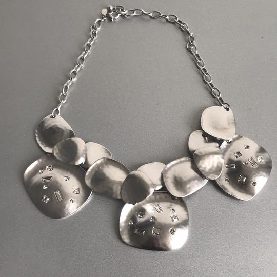 Kenneth Jay Lane Silver Tone with Crystals Bib Necklace