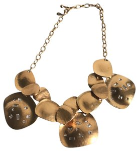 Kenneth Jay Lane Crystal and Gold Tone Metal Bib Necklace