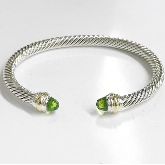 David Yurman BRAND NEW!! NEVER WORN!! David Yurman Peridot 14 Karat Yellow Gold and Sterling Silver Cable Bracelet NWOT Fits up to 7.25