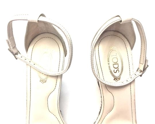 Tod's Silver Hardware White and Dark Brown Wedges