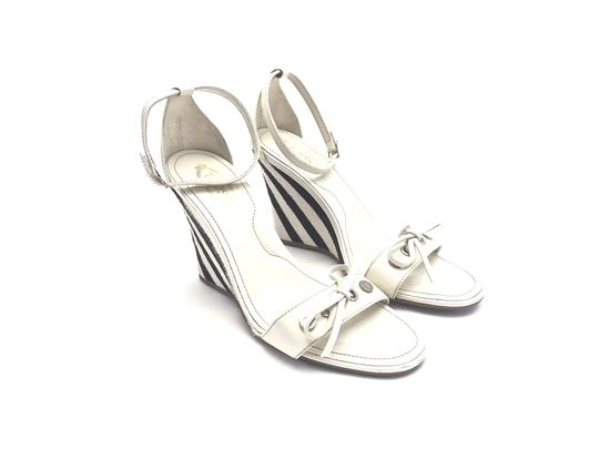 Tod's Silver Hardware White and Dark Brown Wedges Image 2