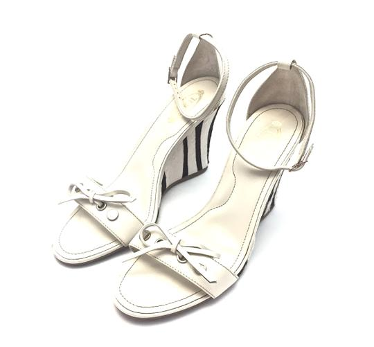 Tod's Silver Hardware White and Dark Brown Wedges Image 3