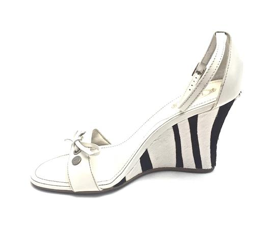 Tod's Silver Hardware White and Dark Brown Wedges Image 4