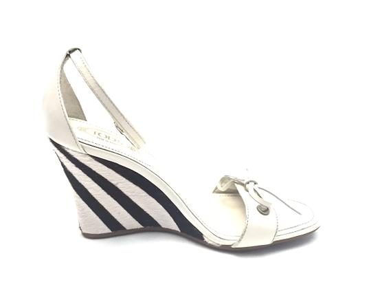 Tod's Silver Hardware White and Dark Brown Wedges Image 5