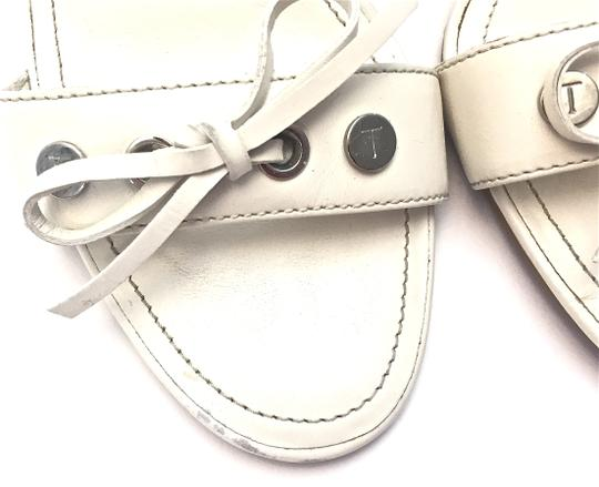 Tod's Silver Hardware White and Dark Brown Wedges Image 9