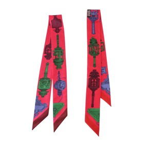 Hermès Hermes Twilly Merveilleuses Lanternes Silk Scarf Set of 2 Fuschia