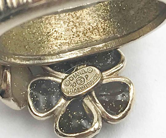 Chanel Chanel 3 Flowers Glitter Faux Pearl Gold Ring 6.5