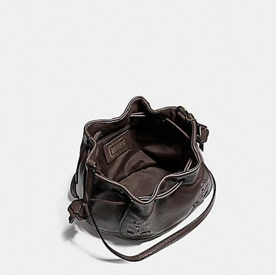 Coach Leather Drawstring Floral Shoulder Silver Hardware Cross Body Bag
