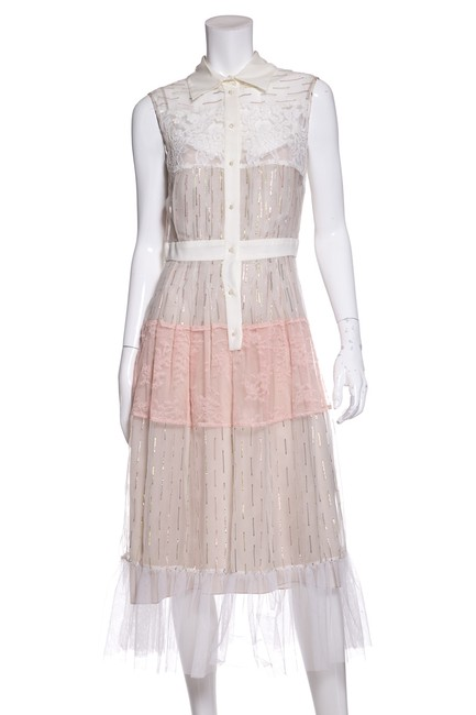 Preload https://item2.tradesy.com/images/white-and-pink-sheer-mid-length-cocktail-dress-size-8-m-23338306-0-0.jpg?width=400&height=650