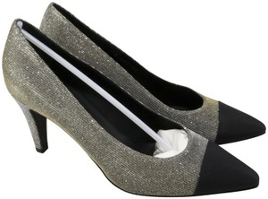 Chanel Logo Party Runway black, Gold, Champagne Pumps