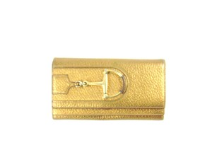 Gucci Textured Metallic Leather Long Clutch Horsebit Multi Wallet