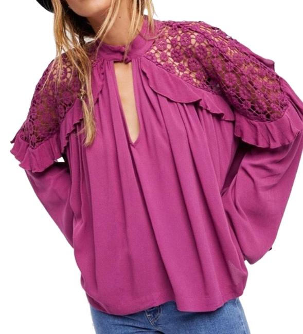 Preload https://item3.tradesy.com/images/free-people-raspberry-pink-little-bit-of-love-lace-shoulder-ruffle-blouse-size-4-s-23338392-0-2.jpg?width=400&height=650