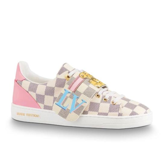 Preload https://img-static.tradesy.com/item/23338443/louis-vuitton-white-2018-limited-summer-trunks-fashion-show-frontrow-sneakers-damier-azur-pink-canva-0-0-540-540.jpg