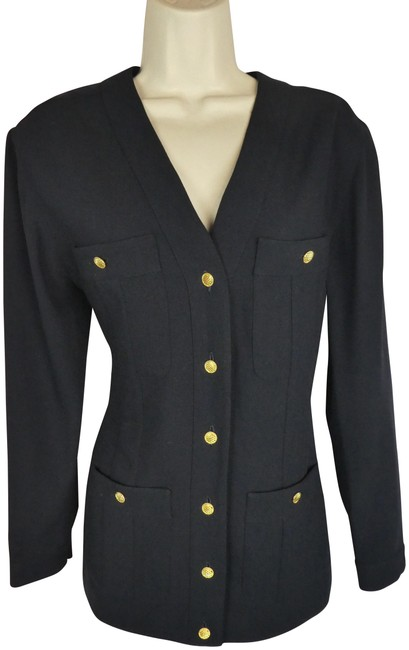 Preload https://item2.tradesy.com/images/chanel-42-s-m-vintage-jacket-gold-logo-buttons-blouse-size-10-m-23338491-0-1.jpg?width=400&height=650
