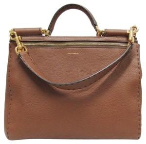 Dolce&Gabbana Leather Pebbled Dolce Sicily Satchel in brown