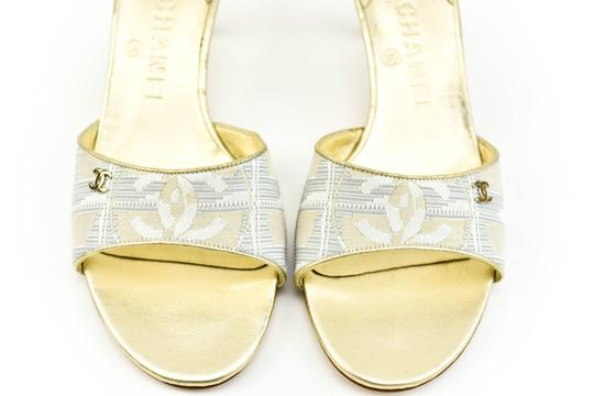 Chanel Leather Heel Cc Traveline - Metallic Gold & Sandals