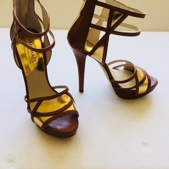 MICHAEL Michael Kors brown and gold Platforms