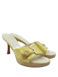 Chanel Pastel Patent Leather Yellow Mules