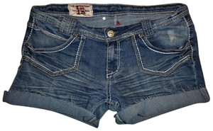 1st Kiss Low-rise Stretchy Cut Off Shorts Blue