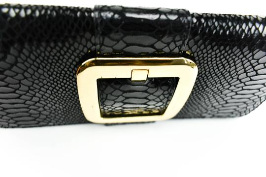 Michael Kors Leather Leather Python Black Clutch