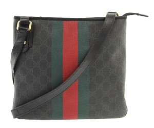 Gucci Monogram Patent Leather Pm Woven Saffiano Leather Black GG Messenger Bag